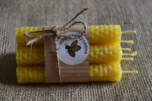 """Beeswax Candles hand rolled approx 4""""/10cm high x 18mm - Set of 6"""