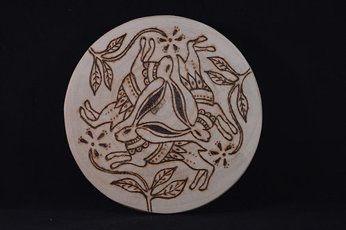 Three Hares amulet on found wood with pyrography design - Pagan, Wicca
