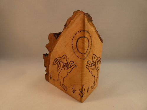 Wooden Altar Amulet on English Alder Wood with Moon Gazing Hares
