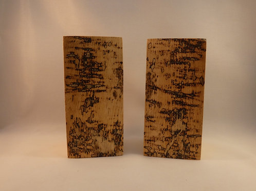 Ash Wood Night Light Holders (pair) 14.5cm with natural spalted pattern for