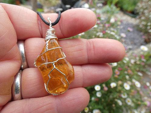 Amber Crystal Pendant polished crystal on adjustable cord