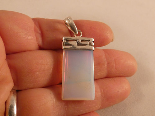 Opalite Crystal Pendant set in sterling silver mount
