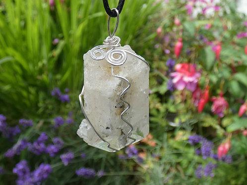 Danburite Crystal Pendant raw crystal on adjustable cord
