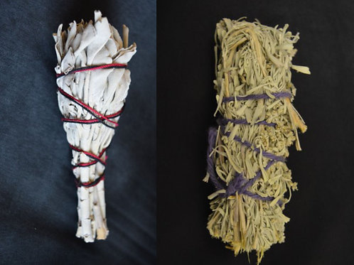 Pair of Mixed White Sage & Sage Spirit Smudge Sticks