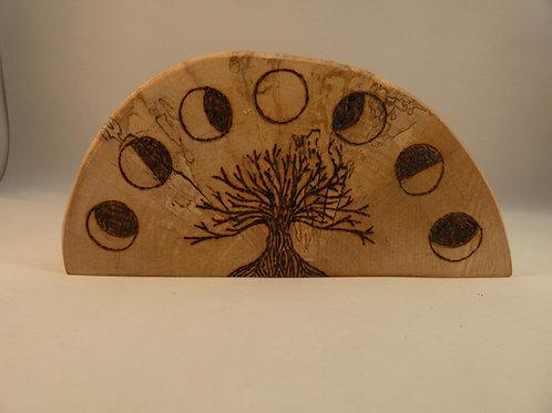 Birch Wood Night Light Holder with Goddess, Lunar phases, Tree of Life