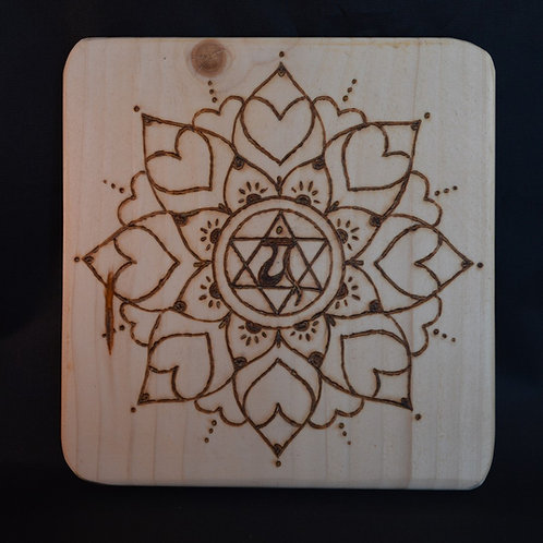 Recycled Wood Crystal Grid with Love mandala design