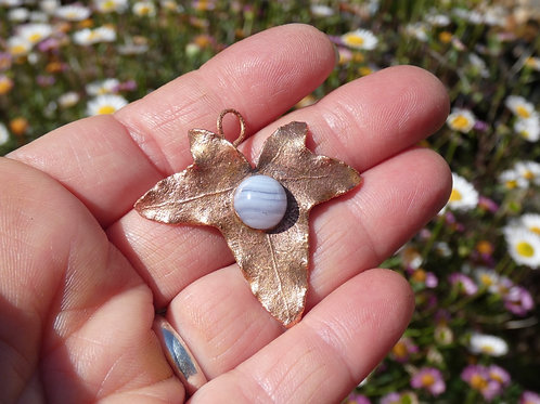 Ivy Leaf and Blue Lace Agate Copper Alchemy Energy Amulet