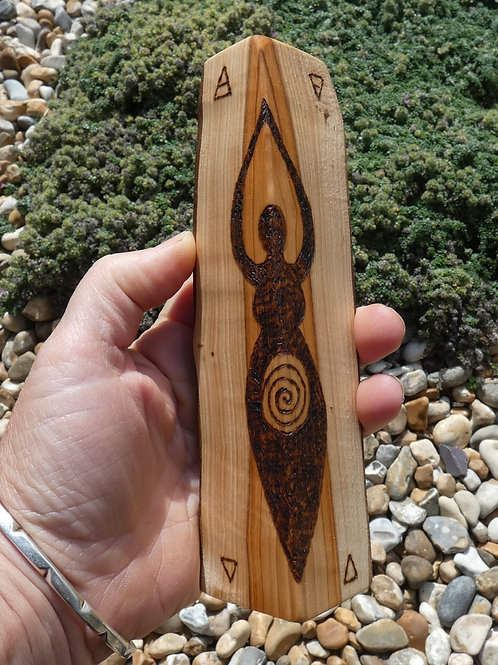 Wooden Amulet on English Yew Wood with Goddess pyrography design