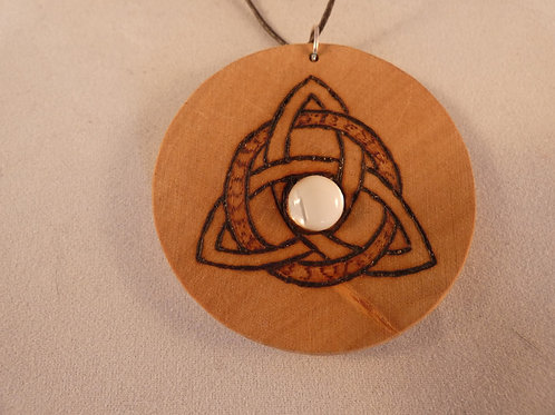 Wooden Amulet with Triquetra Symbol and Mother of Pearl on Found Wood pyrography