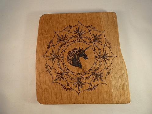 English Oak Wood Crystal Grid with Unicorn mandala pyrography desig