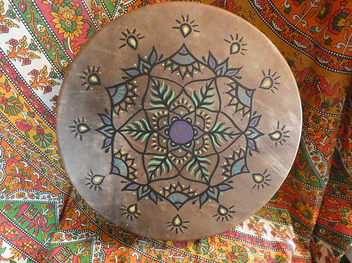"Shamanic Drum and Beater with Mandala Design 16"" Round Brown"