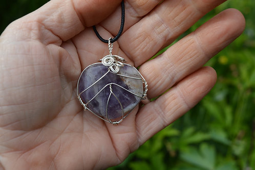 Amethyst Heart Crystal Pendant or Amulet