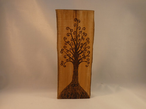 Wooden Amulet on English Apple Wood with Spiral Tree pyrography design
