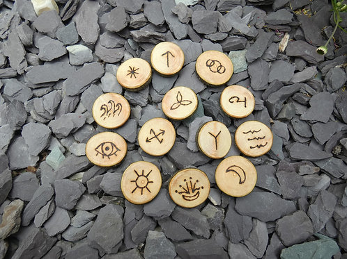 Witches Runes crafted from English Apple Wood