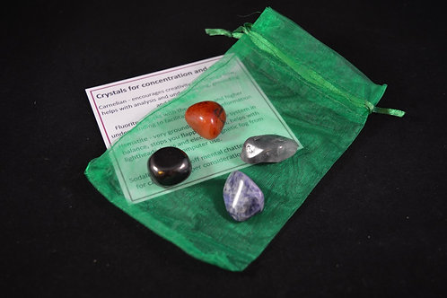 Crystal Healing Kit for Aiding Concentration and Study incl tumble stones