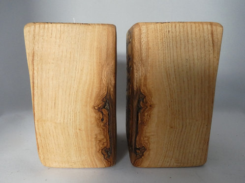 Ash Wood Night Light Holders (pair) with natural spalted pattern