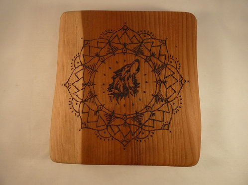 Redwood Crystal Grid with Brother Wolf mandala design