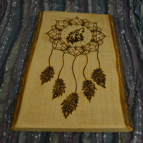 Wooden Crystal Grid made from Devon Ash Wood with Brother Wolf Dream Catcher