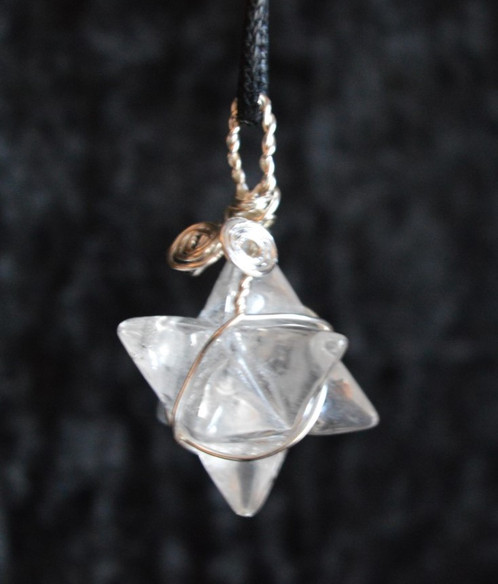Quartz merkaba pendant wire wrapped crystal on adjustable cord stunning quartz merkaba crystal which has been lovingly wrapped in silver coloured wire and hung on an adjustable cord so it can put over your head and aloadofball Gallery