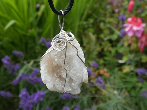 Quartz Geode Crystal Pendant Wire Wrapped polished crystal on adjustable cord