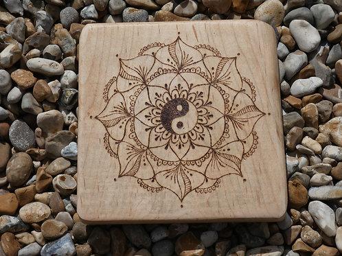 Maple Wood Crystal Grid with pyrography Yin Yang mandala design
