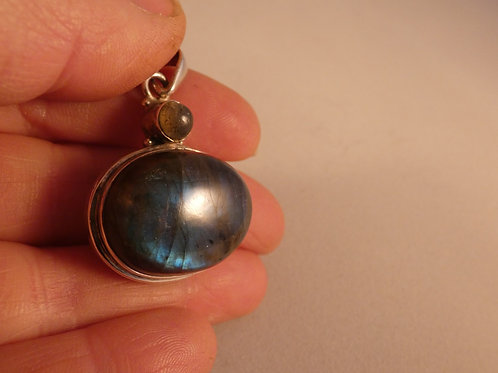 Labradorite Crystal Pendant or Amulet set in silver on adjustable cord