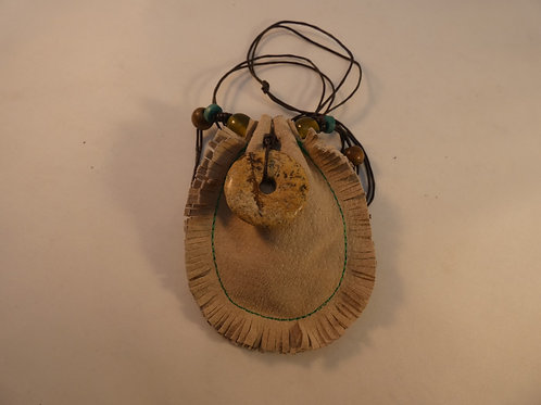 Charm or Medicine Pouch with Picture Jasper Energy, Quartz Crystal & Heather