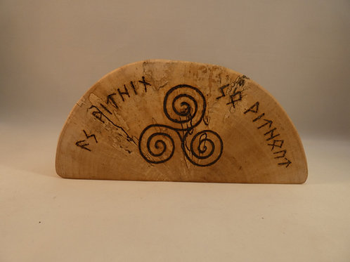 Birch Wood Altar Piece with Triskele, Triquetra and Runic Inscription