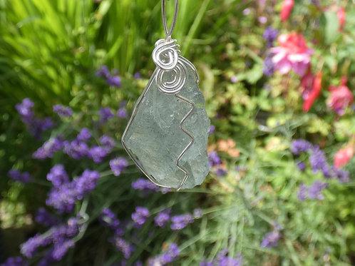 Aquamarine Crystal Pendant raw crystal on adjustable cord
