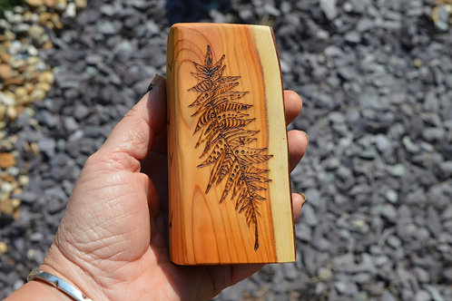 Wooden Amulet on English Yew Wood with Feather pyrography design - Pagan, Wicca,