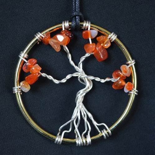 Tree of Life Amulet with Carnelian Crystal Chips - small size