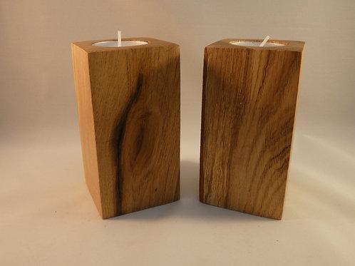 English Oak Wood Night Light Holders (pair) with beautiful natural markings