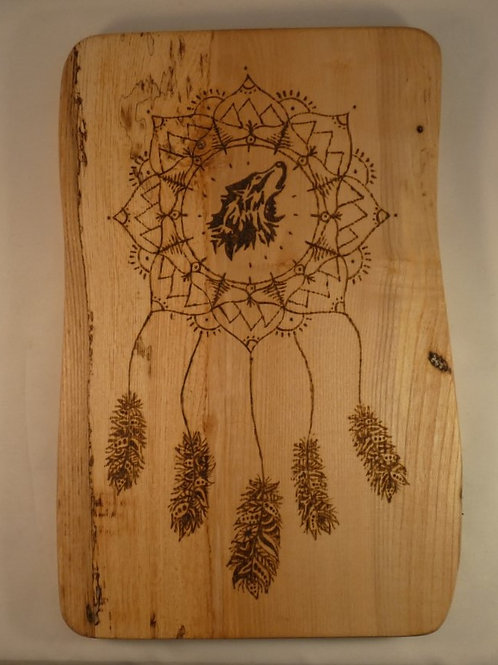Ash Wood Crystal Grid with Brother Wolf Dream Catcher mandala