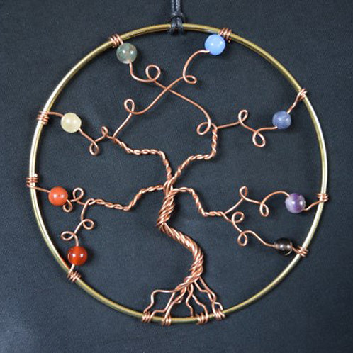 Chakra Tree of Life Hanging Amulet with Crystal Beads - large size