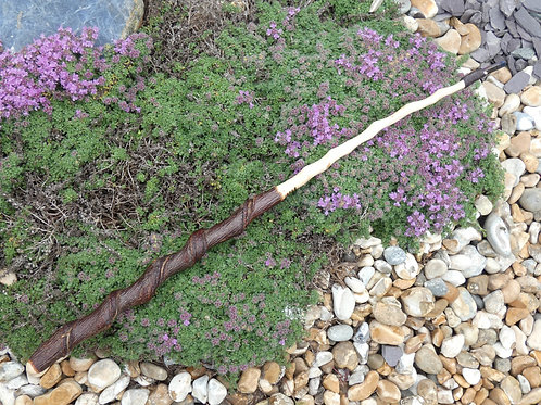 Wooden Wand made from Twisted Gloucester Hazel with Cobalt Aura Quartz