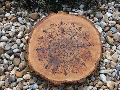 English Alder Wood Crystal Grid with Sacred Tree mandala design