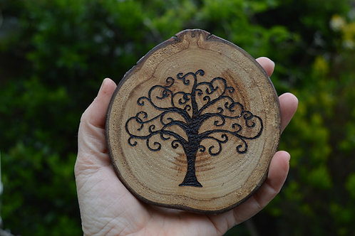 Tree of Life amulet on found wood with pyrography design
