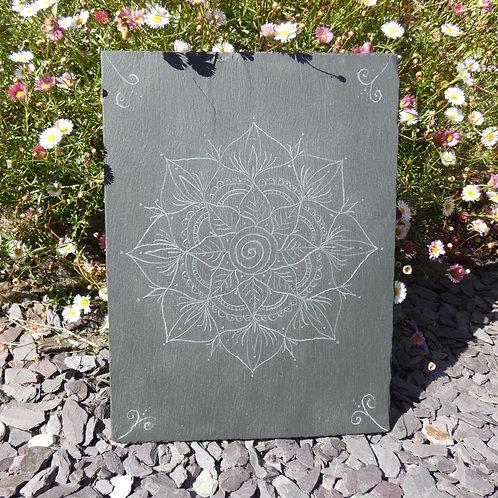Mandala Engraving on Recycled Slate Art / Crystal Grid