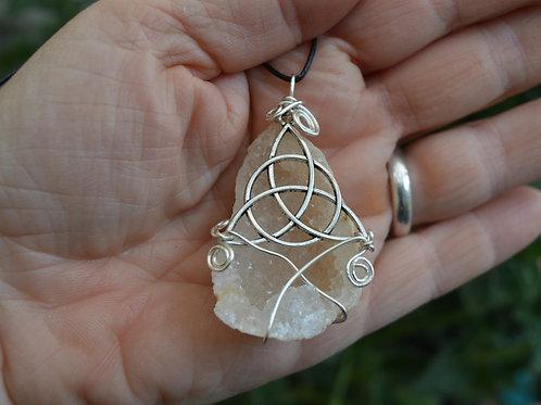 Quartz Geode Crystal and Triquetra Pendant or Amulet