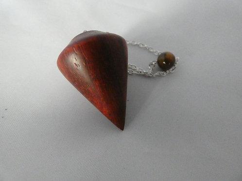Wooden Dowsing Pendulum Satin Bloodwood handturned in Devon