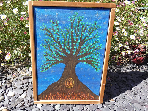 Sacred Apple Tree Original Artwork Canvas with Recycled wood frame
