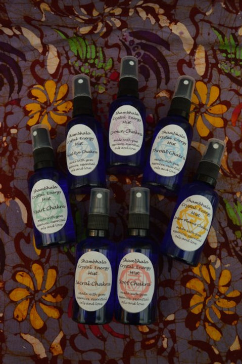Complete Chakra Crystal Energy Mist Set of 7 with Gem Essence and Essential Oils