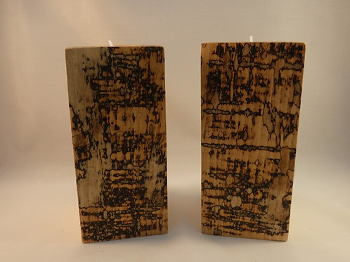 Ash Wood Night Light Holders (pair) 14.5cm with natural spalting