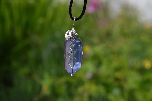 Tanzine Aura Quartz Crystal Pendant or Amulet