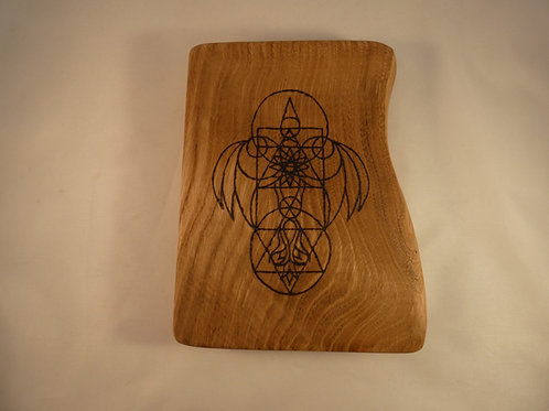 English Chestnut Wood Crystal Grid with Dove of Shekinah pyrography design