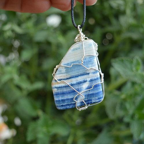 Blue Scheelite (Scheelite with Dolomite) Crystal Pendant or Amulet