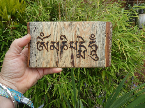 Wooden Amulet on English Ash Wood with Om Mani Padme Hum mantra