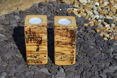 Ash Wood Night Light Holders with natural spalted pattern for altars