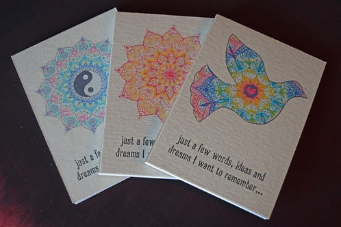 Recycled Notepads (pair) with Mandala and Animal Designs