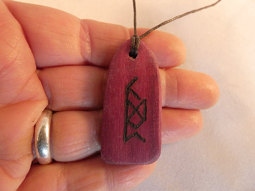 Wooden Bind Rune Amulet for Insight and Awakening pyrography design